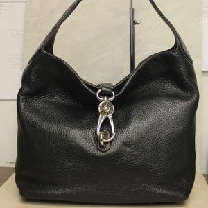 Dooney Bourke Lock Black Pebbled Leather Hobo